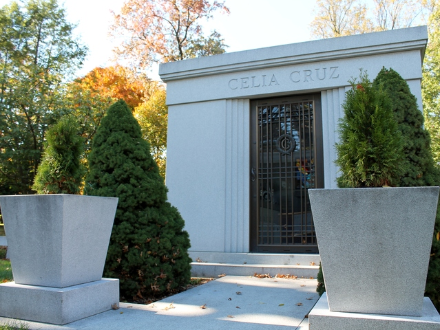<p>The mausoleum of Grammy award-winning singer Celia Cruz, known as the &quot;Queen of Salsa,&quot; who is buried at Woodlawn Cemetery in the Bronx.</p>