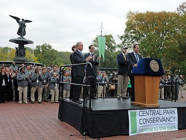 Mayor Michael Bloomberg announced a $100 million gift to the Central Park Conservancy at Bethesda Fountain, Oct. 23, 2012.