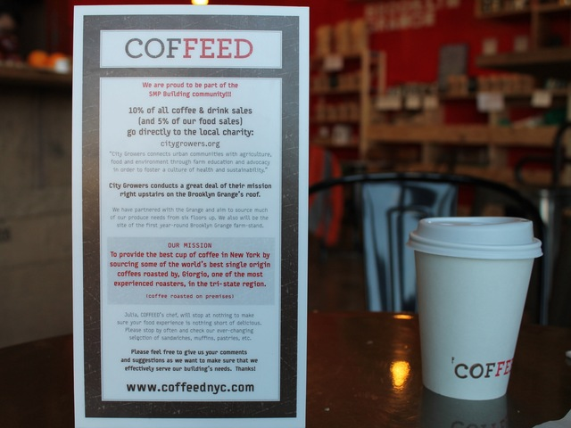 <p>Coffeed gives 10% of its coffee and drink sales and 5% of its food sales to City Growers.</p>