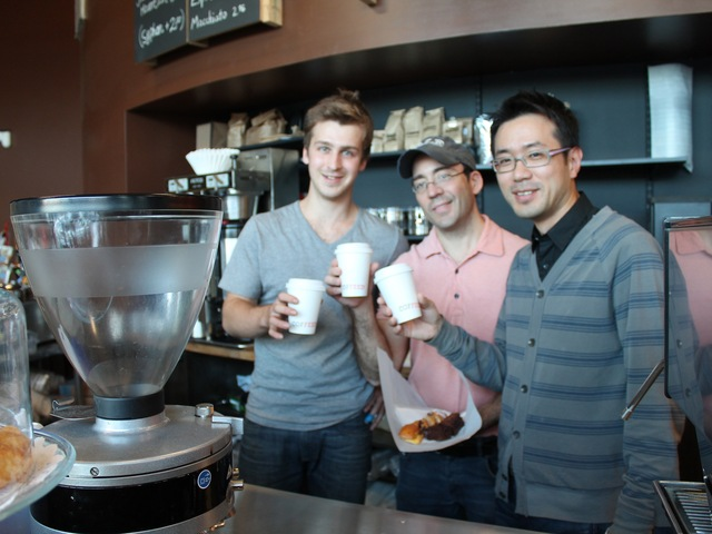 <p>Gene Gutsal, Frank Raffaele and Sam Kim (left to right), the owners of Coffeed.</p>