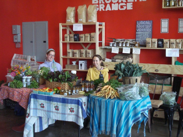 <p>Every Wednesday, Brooklyn Grange sets up its farm stand inside the coffee shop.</p>