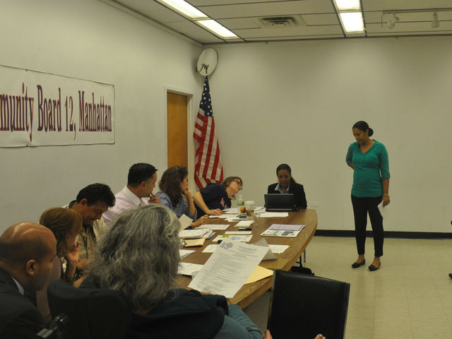 <p>Sandra Jaquez is asked questions by Community Board 12 Licensing Committee Acting Chair George Fernandez on Oct 2.</p>