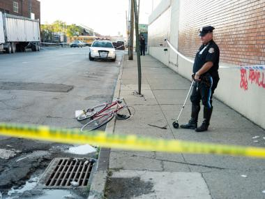 The bicyclist died in an accident at Metropolitan and Stewart avenues on Oct. 1, 2012.