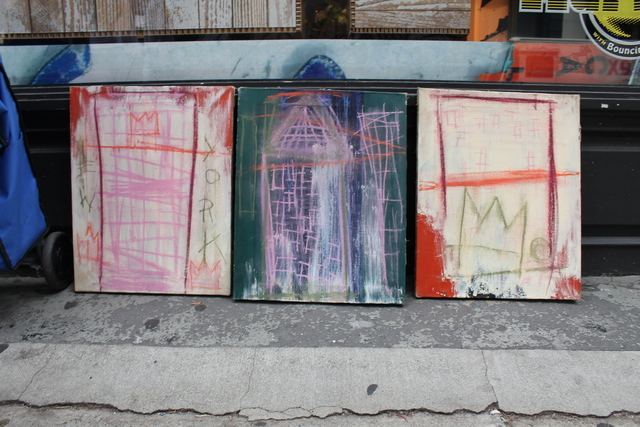 <p>Daniel Himmelfarb, the owner of a now-defunct SoHo art supply shop, said Jean-Michel Basquiat gave him this triptych of paintings after running up a tab at his store.</p>