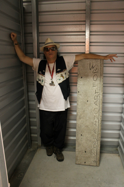 <p>Daniel Himmelfarb says he has an authentic SAMO tag scrawled into concrete. Jean-Michel and his graffiti partner, Al Diaz, used the tag. He keeps the cut-out sidewalk in a Queens Village storage facility.</p>