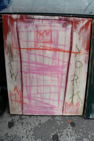 <p>Daniel Himmelfarb says this is one of the paintings in a triptych by Jean-Michel Basquiat. He says the artist gave him the triptych after running up a tab at his SoHo art supply shop.</p>