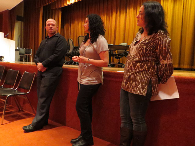 <p>PS 527 Principal Daniel McCormick discusses the East Side School for Social Justice&#39;s name alongside PTA co-presidents Dana Gross and Miriam Quart at a community meeting this week.</p>