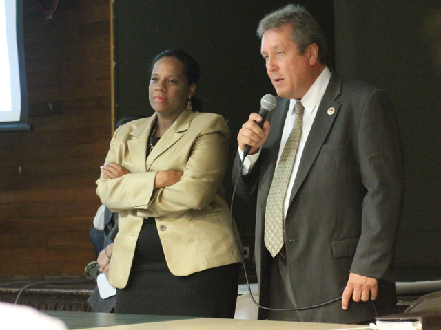 <p>City councilmembers Julissa Ferreras and Daniel Dromm speak at a town hall meeting on Oct. 1, 2012.</p>