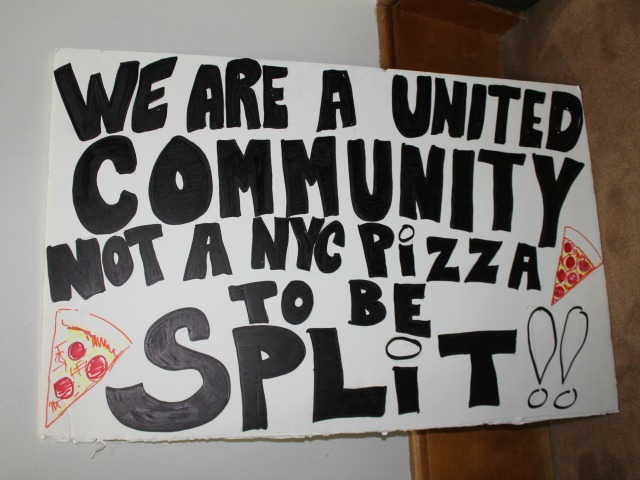 <p>Another sign opposing the preliminary proposed new City Council district lines.</p>