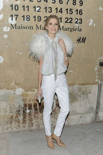 <p>Model Elena Perminova at the lunch of Maison Martin Margiela for H&amp;M at 5 Beekman in the Financial District, Tuesday, October 23, 2012.</p>