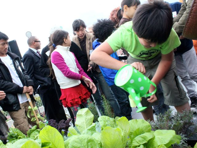 <p>Students from the Earth School do some planting during the unveiling of the Fifth Street Farm garden.</p>