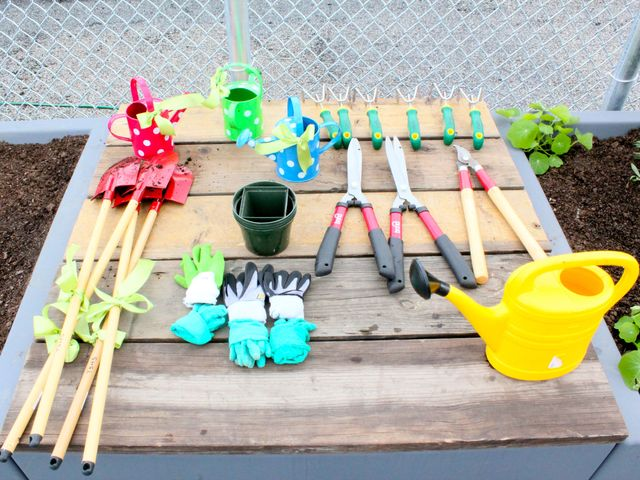 <p>Garden tools ready to be used by students of the Earth School at a new rooftop garden created by nonprofit the Fifth Street Farm.</p>