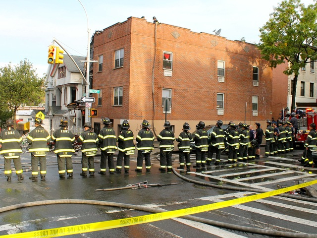 <p>Nearly 200 firefighters raced to 17 E. 184th St. to battle the fire on Oct. 15, 2012.</p>