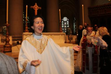 On Saturday, Christine Lee became what church officials believe is the first Korean-American woman ordained as a priest in the  Episcopal Church .