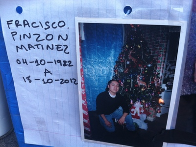 <p>A shrine is put out for Francisco Pinzon-Martinez, 30, at a Metro PCS store in Hamilton Heights on October 19, 2012.</p>