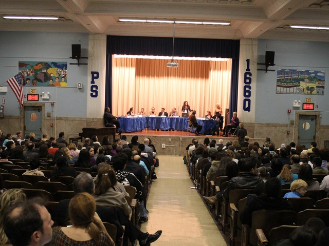 <p>Hundreds of parents attended the Community Education Council District 30 meeting in the fall of 2012, demanding the city add more gifted and talented middle school seats.</p>