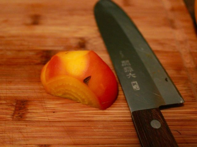 <p>A golden beet after it is roasted, peeled and halved.</p>