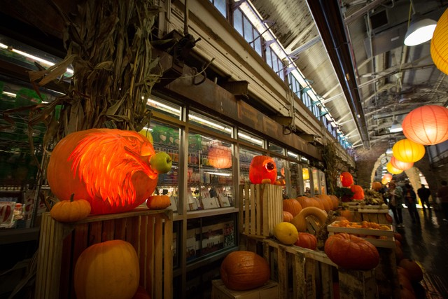 Hugh McMahon's carved pumpkins on display at Chelsea Market