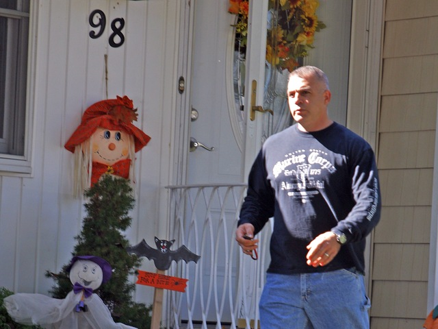 <p>Hassan Hamdy, seen outside his Long Island home, allegedly shot and killed Noel Polanco during a traffic stop on the Grand Central Parkway on Oct. 4, 2012.</p>