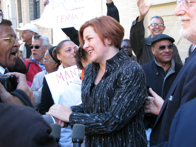 <p>City Council Speaker Christine Quinn shakes hands.</p>