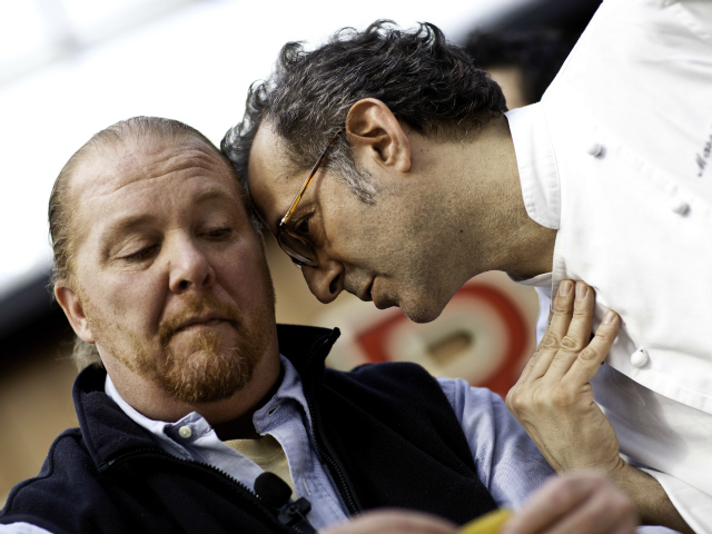 <p>Chef Mario Batali with Chef Massimo Bottura during IDENTIT&Agrave; New York 2011.</p>