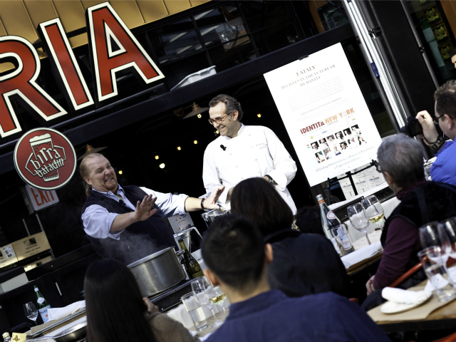 <p>Chefs Mario Batali and Massimo Bottura present a cooking demonstration at Eataly&#39;s Birreria for IDENTIT&Agrave; New York 2011.</p>