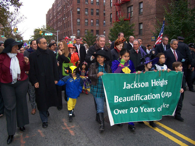 <p>Julissa Ferreras, Jose Peralta, Daniel Dromm, Christine Quinn and Mike Bloomberg marched in the 2011&nbsp;Jackson Heights Halloween Parade.</p>