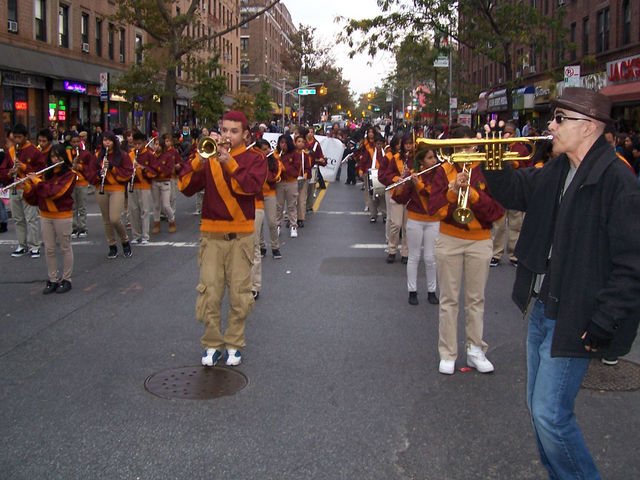 <p>The I.S. 145 marching band, during last year&#39;s Jackson Heights Halloween Parade</p>