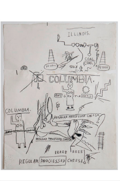 <p>A drawing by Jean-Michel Basquiat that Daniel Himmelfarb sold for $100,000 in August. Basquiat gave it to Himmelfarb in exchange for running up a tab at his SoHo art supply store.</p>