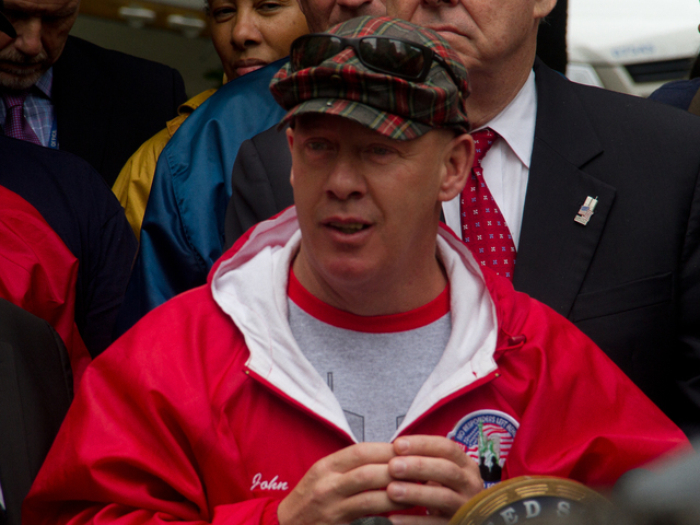<p>John Feal, founder and president of the FealGood Foundation, joined members of Congress at World Trade Center 7 Oct. 15, 2012 to announce their support for the protection of Zadroga Act funds from a potential congressional budget sequester.&nbsp;</p>