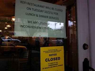 <p>The popular Greek restaurant Kefi was closed on Monday by the Department of Health.&nbsp;</p>