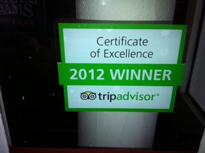<p><span>Kefi&#39;s Trip Advisor award is displayed in the window.&nbsp;</span></p>