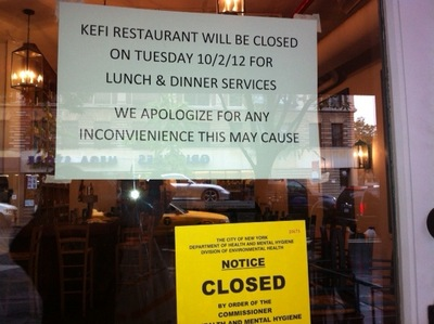 <p>Kefi has been closed by the health department.&nbsp;</p>