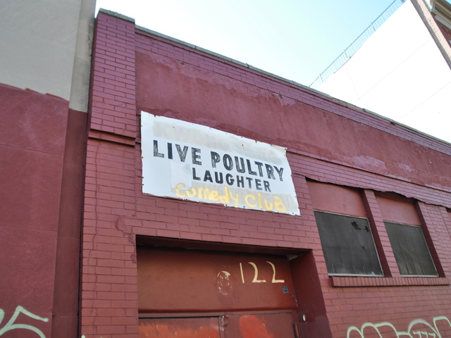 <p>Lee&#39;s Live Poultry Slaughter now reads &quot;Live Poultry Laughter Comedy Club.&quot;</p>