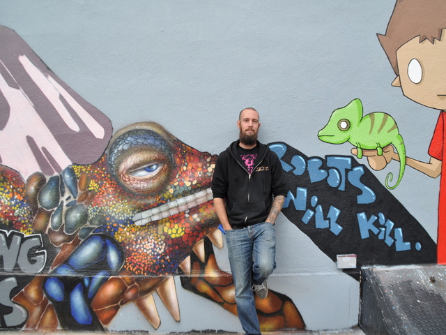 <p>Low Brow&#39;s outside wall has a rotating display of street art.</p>
