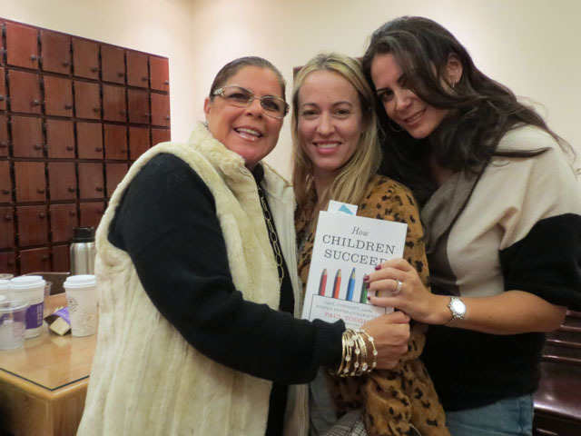 <p>Lyss Stern poses with friends Lisa Spector and Amy Laine, who attended Paul Tough&#39;s discussion of his new book, &quot;How Children Succeed,&quot; on Oct. 23, 2012.</p>