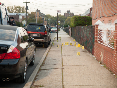 <p>The scene of a fatal shooting on Hemlock Street in Brooklyn. Photo taken on Tuesday October 23rd, 2012.</p>