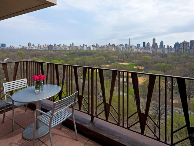 <p>The terrace at the 1-bedroom, 1.5-bath condo at 25 Central Park West listed for $4.09 million by Prudential Douglas Elliman.</p>