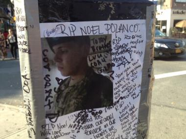 A memorial for Noel Polanco, the 22-year-old unarmed man who was shot to death by an NYPD detective on the Grand Central Parkway in Queens.
