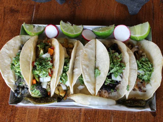 <p>An assortment of soon-to-debut meatless tacos.</p>