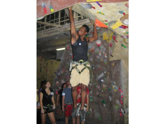 <p>The New School offers many athletic activities for students, including rock-climbing.</p>