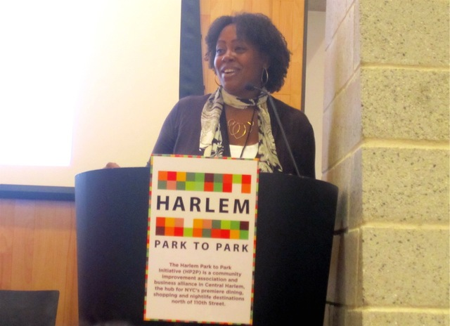<p>Nikoa Evans-Hendricks, the executive director of Harlem Park to Park, moderated a panel discussion Oct. 10, 2012 on marketing Harlem.</p>