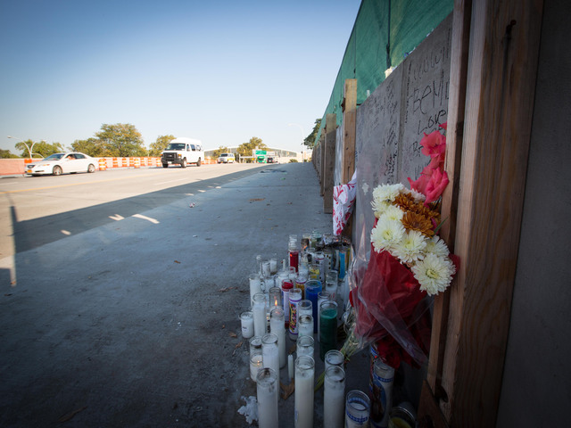 <p>Mourners have created a memorial for Noel Polanco, who was shot and killed by police on Oct. 5, 2012.</p>