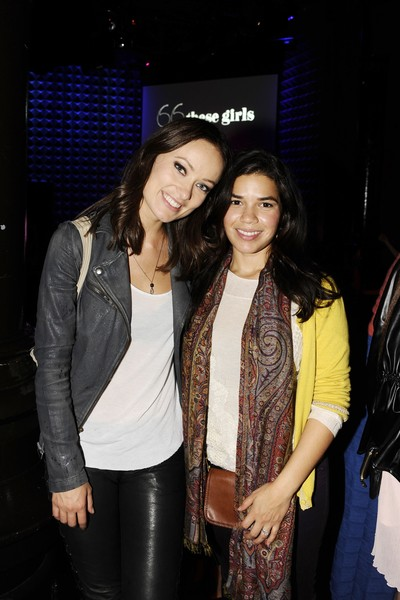 <p>Olivia Wilde and America Ferrara at <em>Glamour&#39;</em>s &quot;These Girls&quot; party at Joe&#39;s Pub on Monday, Oct. 8, 2012.</p>