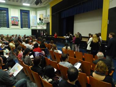 "Angry parents sounded off about a proposal to rezone several Park Slope schools Monday night, saying the plan is tearing apart the neighborhood and dashing the hopes of families intent on sending their children to some of Brooklyn's most coveted schools.   ""We feel our community is being ripped apart,"" a mom at P.S. 39 said at a Monday night town hall meeting on education issues hosted by City Councilman Brad Lander."