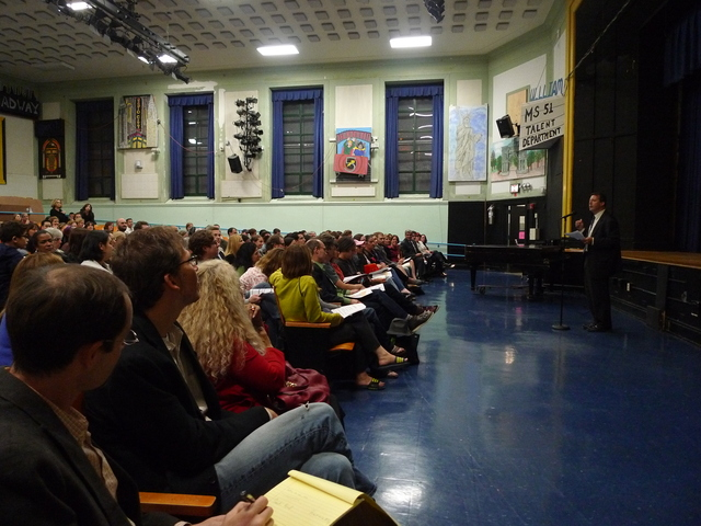<p>Parents gathered for a &quot;town hall meeting&quot; on local education issues hosted by City Councilman Brad Lander in Park Slope. Many raised concerns about a rezoning proposal that would affect P.S. 321, P.S. 10, P.S. 107 and P.S. 39.</p>