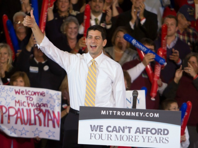 <p>Congressman Paul Ryan attends the Congressman Paul Ryan Rally with Kid Rock at Oakland University Athletic Center on Oct. 8, 2012 in Rochester, Mich.</p>