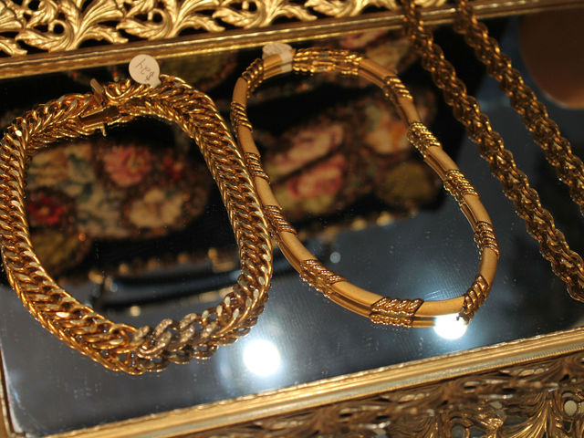 Gold necklaces on display at Pippin.