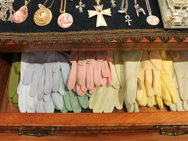 An assortment of pastel ladies gloves at Pippin.