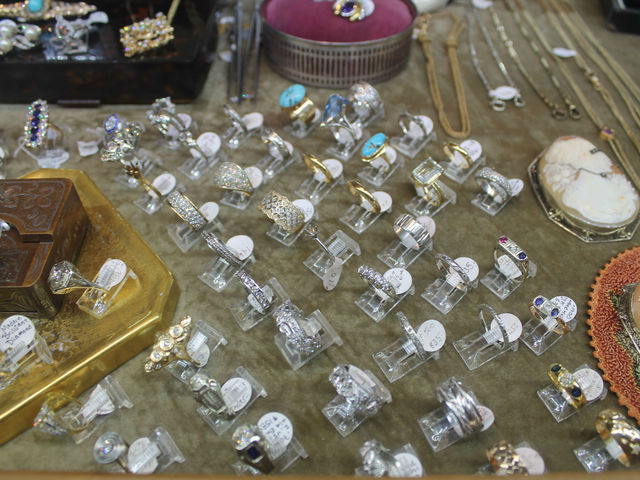 An array of diamond rings at Pippin. Manager Erin Wilensky said she sees an uptick in engagement ring sales during the holiday season and in the spring.